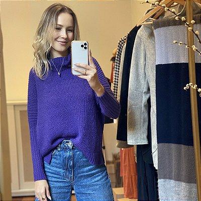 Blusão Tricot Amplo Violeta