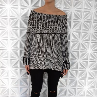 Blusa Maxi Tricot Ombro a Ombro Comphy Black&Grey