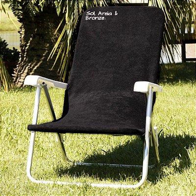 Toalha para Cadeira de Praia Comphy Preta – Sol, Areia & Bronze.