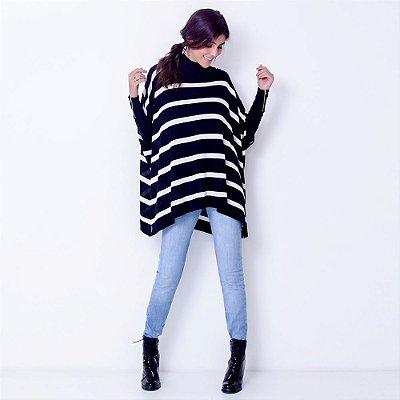 Blusa Poncho Tricot Comphy Stripes