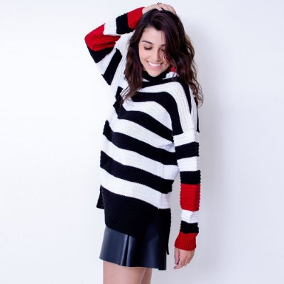 Blusa Maxi Tricot Comphy Stripes&Red
