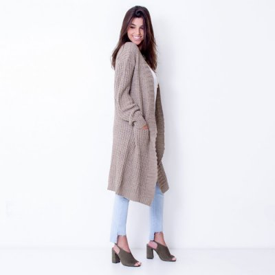 Cardigan Maxi Tricot com Bolso Comphy Sand