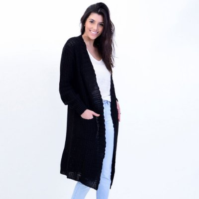 Cardigan Maxi Tricot com Bolso Comphy Black