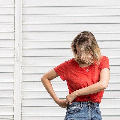 Camiseta Tricot Linho Ampla Vermelha