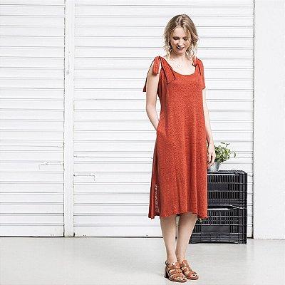 Vestido Tricot Linho Laço Terracota