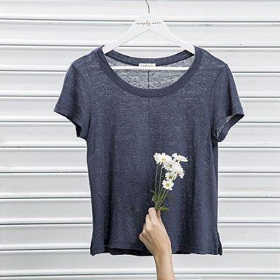 Camiseta Tricot Linho Ampla Nervura Marinho Indigo