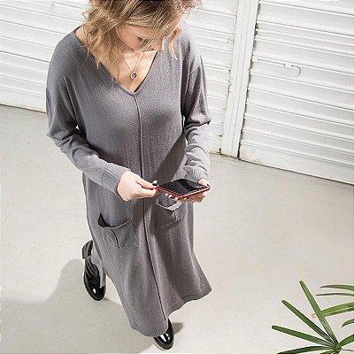 Vestido Tricot Bolsos Cinza Chumbo