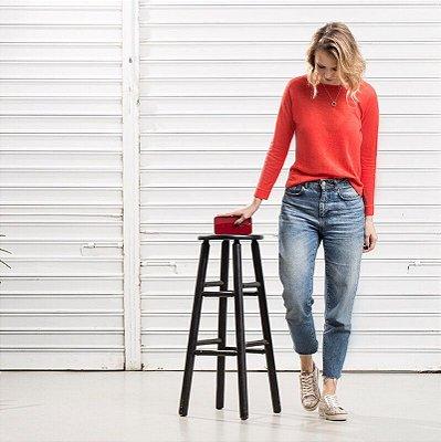 Camiseta Tricot Linho M/L Vermelha