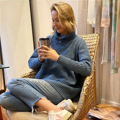 Blusão Tricot Amplo Azul Jeans