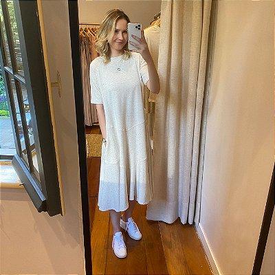 Vestido Moletom M/C Fibras Naturais Off