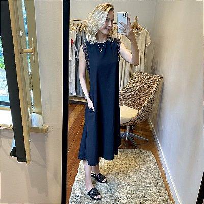 Vestido Linho Renda Preta Midi
