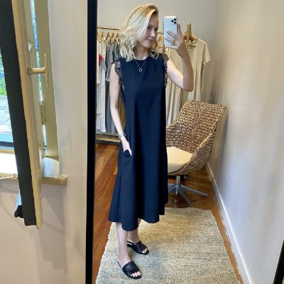 Vestido Linho Renda Preta