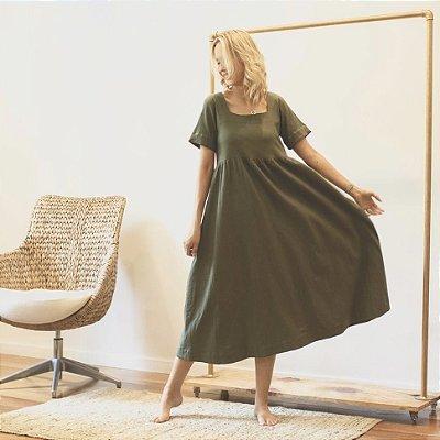 Vestido Linho Decote Quadrado Verde Folha