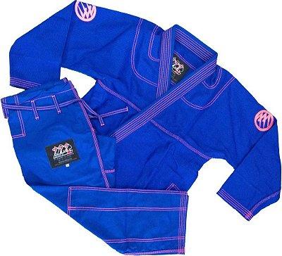 Kimono 777 Azul Rosa Bordado