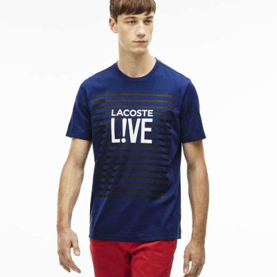 Camiseta Lacoste Live em Jérsei Listrado