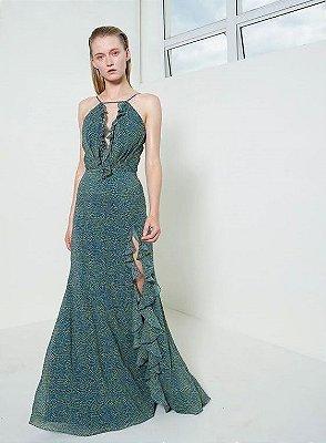 Vestido M Rodarte Festa Longo Crepe de Seda