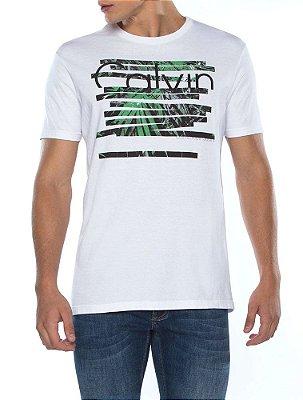 Camiseta Calvin Klein Jeans Estampa Listras e Logo