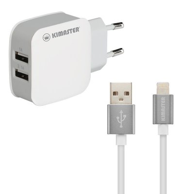 Kit carregador com 2 USB + Cabo Lightning
