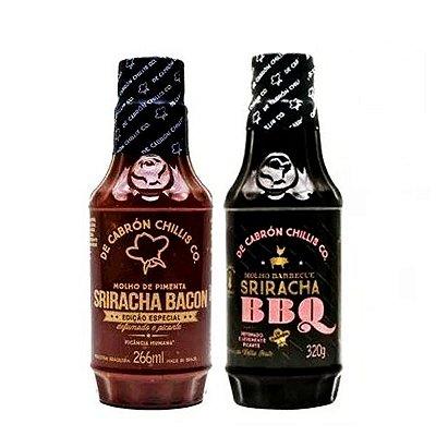 Kit 2 Bbq Sriracha 320g + 2 Sriracha Bacon 266ml - De Cabrón