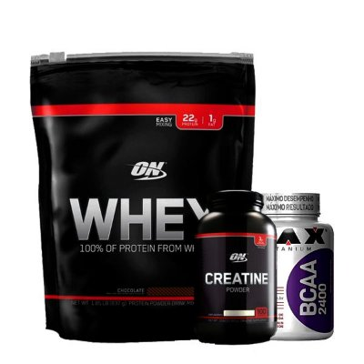 Kit On Whey + Creatine Black Line + Bcaa 2400 60 cápsulas