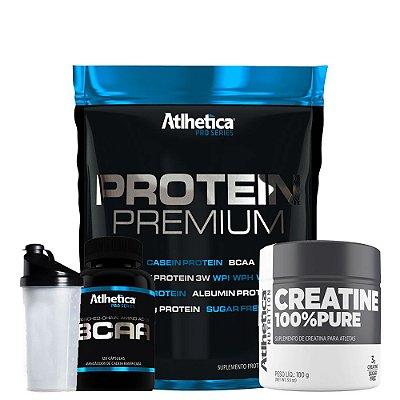 Protein Premium 850g + Bcaa 120caps + Creatina + Coqueteleira