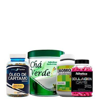 Óleo de Cártamo + Chá Verde + Picolinato de Cromo + Colágeno