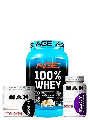 Whey Protein Age + Bcaa Max Titanium + Creatina 100g Max Titanium