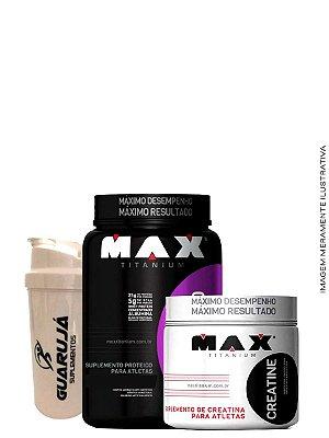Combo Whey Blend 900g Max Titanium + Creatina 300G Max Titanium + Coqueteleira