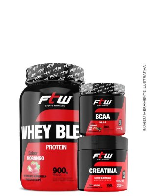 Combo FTW - Whey Blend 900g + Bcaa 60caps + Creatina 60g
