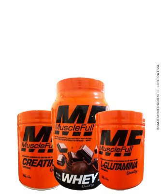 Combo Whey 100% 810g + Glutamina 300g + Creatina 300g - Muscle Full