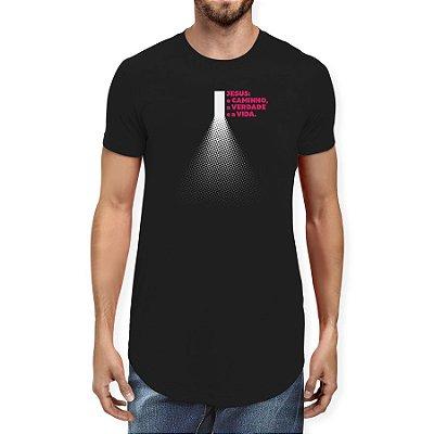 Camiseta Masculina Longline Gola O - Jesus Caminho Verdade Vida