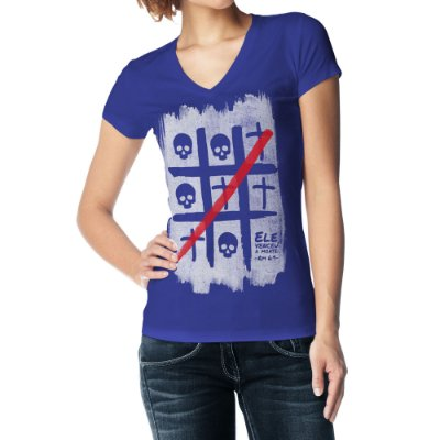 Camiseta Feminina Baby Look Gola V - Ele Venceu a Morte