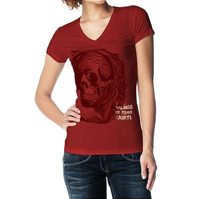 Camiseta Feminina Baby Look Gola V - Salário do Pecado