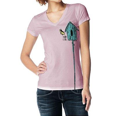 Camiseta Feminina Baby Look Gola V - A Casa é Tua