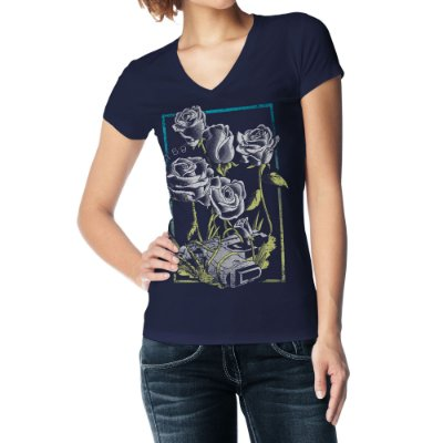 Camiseta Feminina Baby Look Gola V - Deus Pacificador
