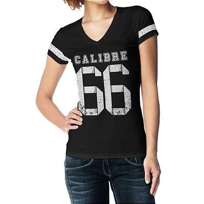Camiseta Feminina Baby Look Gola V - Calibre 66 - Preto