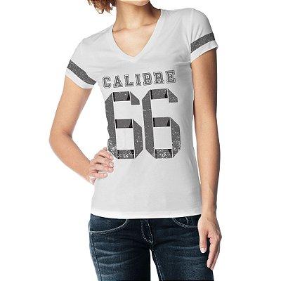 Camiseta Feminina Baby Look Gola V - Calibre 66 - Branco