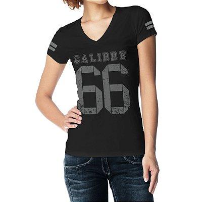 Camiseta Feminina Baby Look Gola V - Calibre 66 V1 - Preto