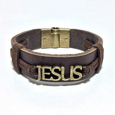 Pulseira Jesus - Couro 17mm - Marrom - Pingente ouro velho