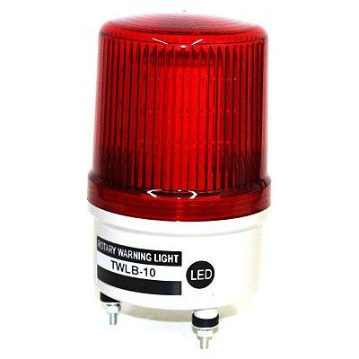 Sinalizador EMERGÊNCIA Rotativo LED+BUZZER - 12V VERMELHO TWLB-10L9R METALTEX