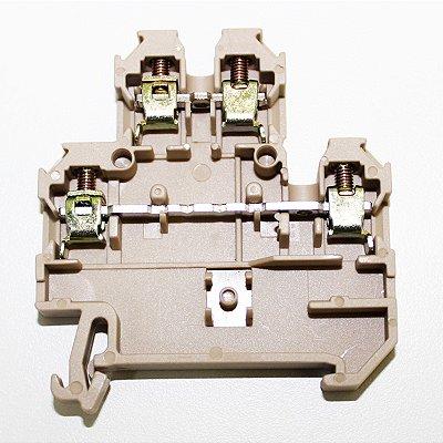 CONECTOR DE PASSAGEM DUPLO 4MM P/ TRILHOS TS32 E TS35 - BEGE MDB4-4/2