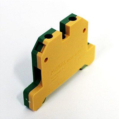 CONECTOR TERRA 4MM COM CAPA P/ TRILHOS TS35 E TS35 - VERDE/AMARELO MGB4/35