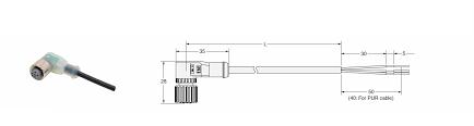 conector femea/M12/angular(90°)/3 vias/10m  XS2F-B12PVC3A10M