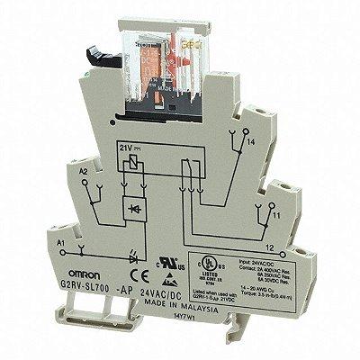 acoplador a rele / 6A/ 1NAF/ 24VAC-DC/ parafuso/ LED  G2RV-SL700 AC/DC24