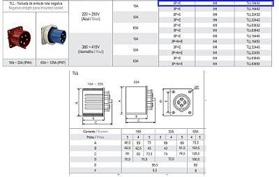 TOMADA EMBUTIR RETA NEGATIVA 16A - 2P+E - 6H - AZ - IP44  TLL16432