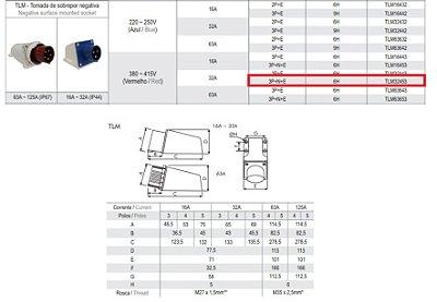 TOMADA DE SOBREPOR NEGATIVA 32A - 3P+N+E - 6H-VM - IP44  TLM32453