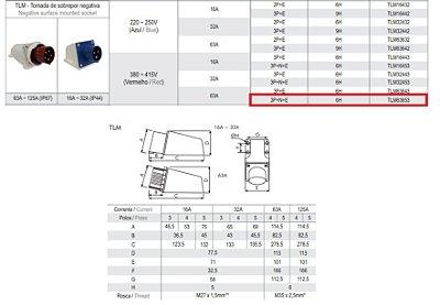 TOMADA DE SOBREPOR NEGATIVA 63A - 3P+N+E - 6H - VM - IP67  TLM63653
