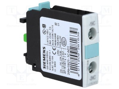 bloco de contato auxiliar, frontal, 1NF, para contator S0 - S12 3RH19211CA01