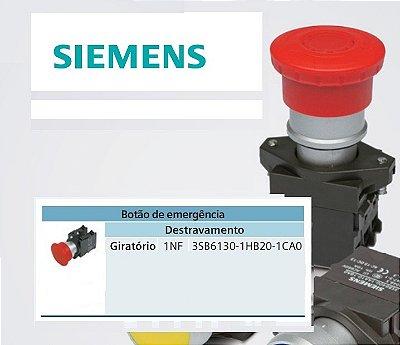botão cogumelo com retenção girar p/destravar 3SB6130-1HB20-1CA0 1NF vermelho 40mm 3SB6130-1HB20-1CA0