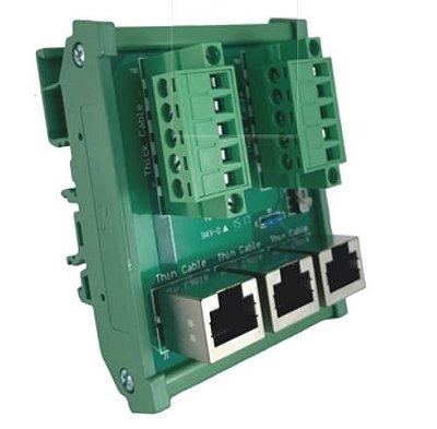 Caixa de distribuição Devicenet / CanOpen com 3 conectores tipo RJ11. Alimentação 5Vcc pela rede. DELTA TAP-CN03